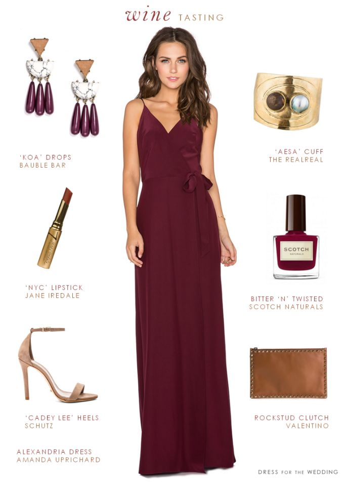 Burgundy Maxi Dress. A burgundy dress for a wedding works for bridesmaids or as a fall wedding guest outfit. Dress by Amanda Uprichard from Revolve Clothing