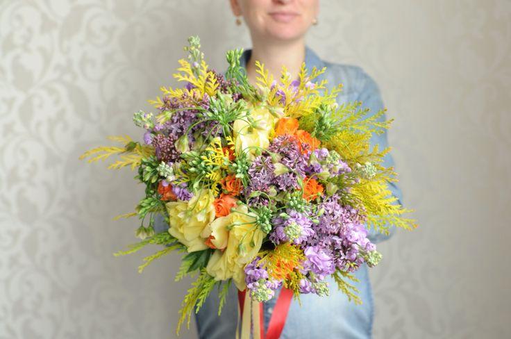 Яркий разноцветный желто-фиолетовый букет / Bright multicolor yellow and purple bouquet