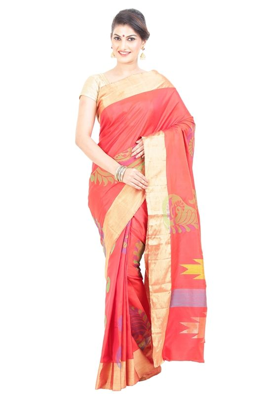 Dark Red & Golden Uppada Silk Shari Crafted with Artistic Borders! Choose a saree!! Not to be noticed but to be remembered always, so it's perfect time to look fabulously gorgeous with choosing this uppada Silk designed gorgeously with full body in Dark Red & Golden with a wonderful pallu of artistic designs.