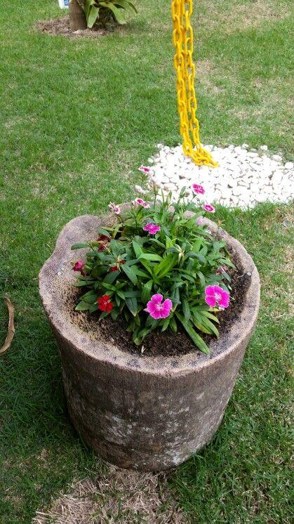 Floreira de tronco Ideias originais para o jardim ...