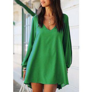Split Sleeve V Neck Green Shift Dress