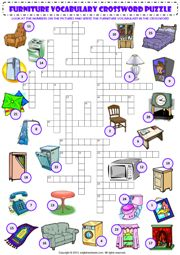 in my house furniture vocabulary criss cross crossword puzzle worksheet icon