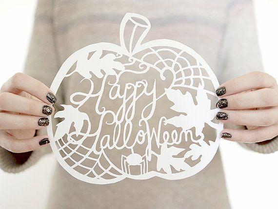 Pumpkin Decor Papercut Template Halloween Decor by nomadprintables