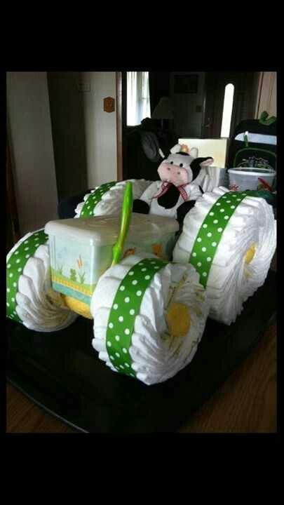 Tractor diaper cake... Too cute!