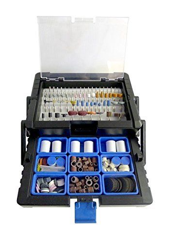 500pc Rotary Tool Accessories Kit in Cantilever Tool Box