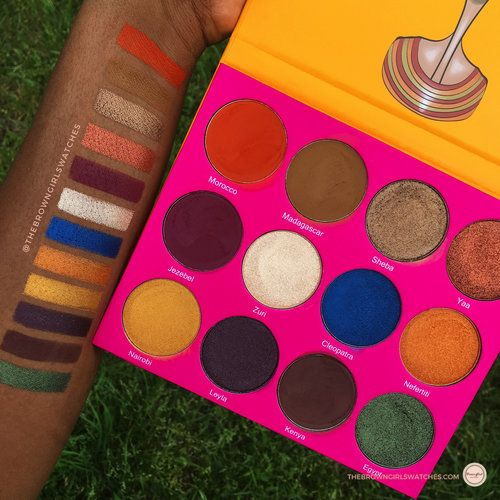 Juvias place Nubian palette swatches on brown skin