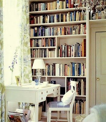 nice lighting from window & quieting wall of books