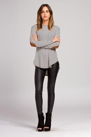 Striped Hi Lo Top with Faux Saude Elbow Patches