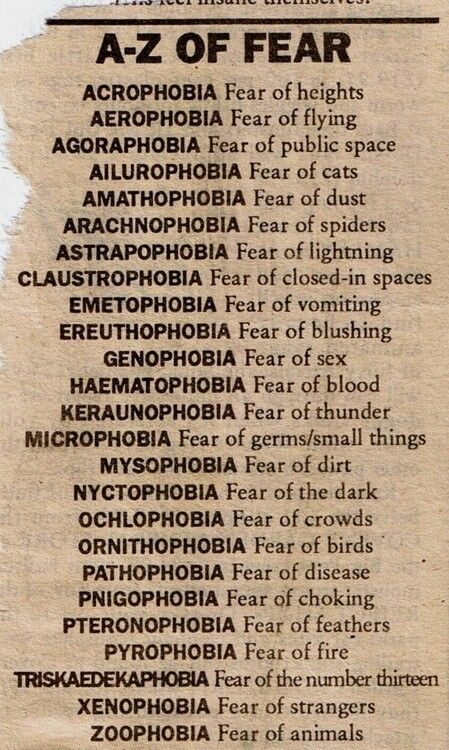 Androphobia- Fear of  men Gynaecophobia-Fear of  women Kleptophobia- Fear of theft There's no end to fears....