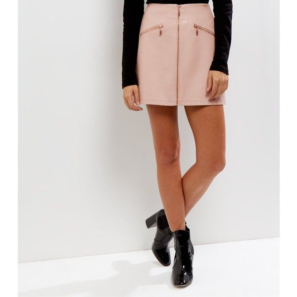 New Look Petite Mid Pink Leather-Look Zip Front Skirt (£23) ❤ liked on Polyvore featuring skirts, mid pink, party skirts, imitation leather skirt, vegan leather skirt, front zipper skirt and front zip skirt
