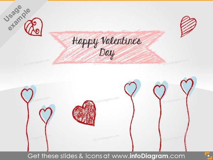 Handwritten Hearts, Banners and Flowers in pencil style. Get our freebie from infodiagram.com