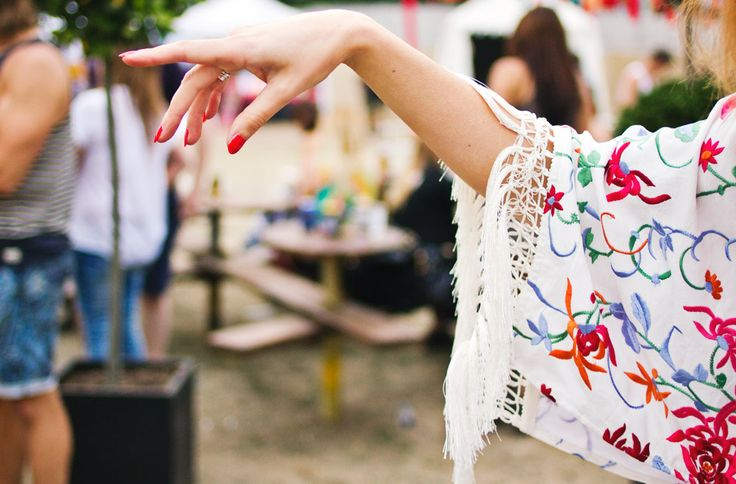 embroidered kimono tassel sleeve festival outfit details