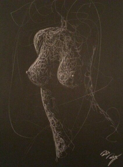Drawings. Whiteline. Naked woman. Act . Black Cardboard