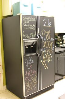 Chalkboard fridge DIY- We'll have to do this when we have kids...they are gonna miss their daddy!