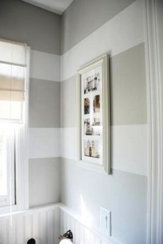 love the wide stripped wallsStripes Wall, Guest Bathroom, Laundry Rooms, Wide Stripes, Striped Walls, Bathroom Ideas, Bedrooms, Painting, Powder Rooms