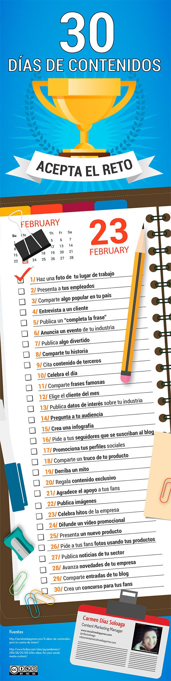 30 ideas para un mes de marketing de contenidos. Infografia en español. #CommunityManager