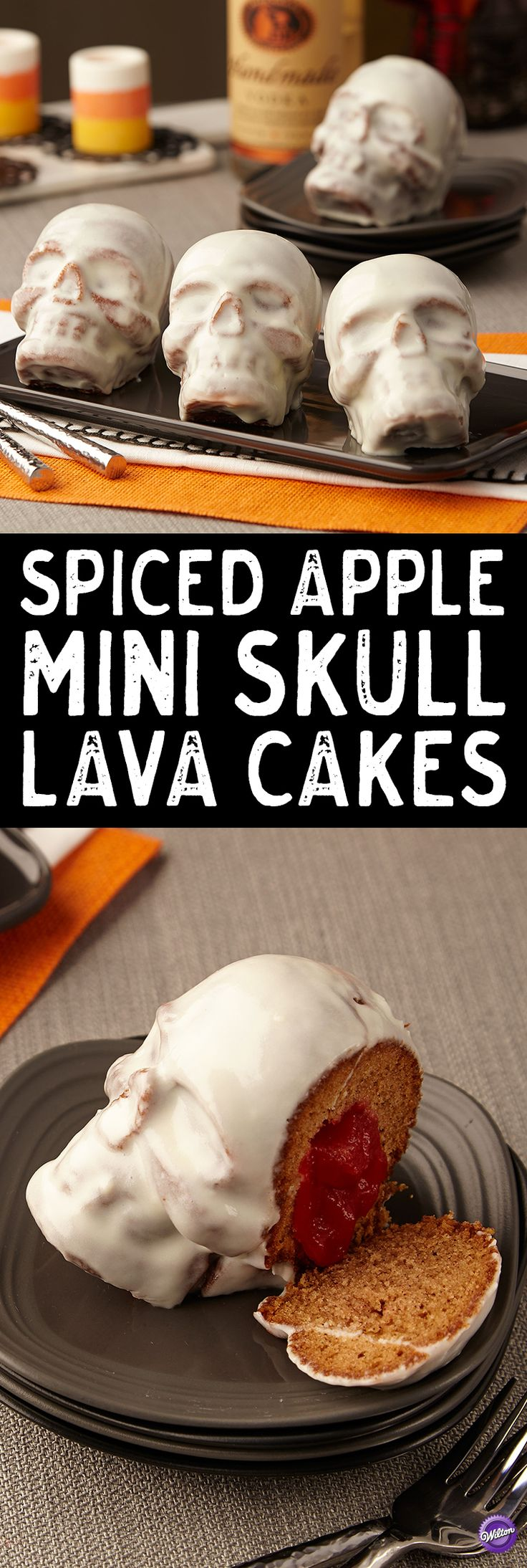 We're filling your heads with Vodka-spiked Halloween recipes with these Spiced Apple Mini Skull Lava Cakes! Apple spice cake plays up cinnamon, ground clove and nutmeg notes, but the lava-filled center is oozing with Vodka-spiked, applesauce-infused, cinnamon flavor. Vanilla-flavored, cream-cheese glaze envelopes mini skull cakes, adding life-like color and completing this drop-dead flavor profile.