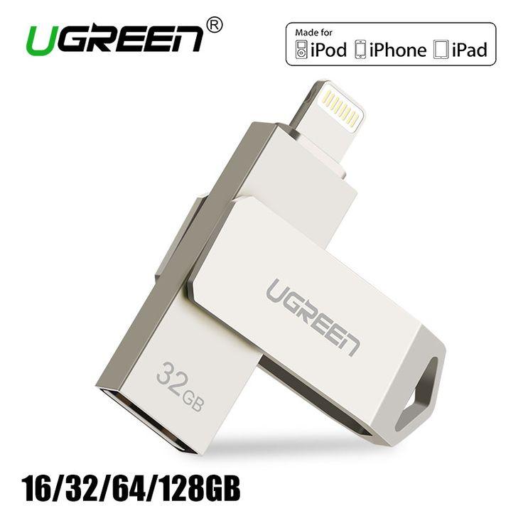 Ugreen usb flash drive 32 gb 64 gb para iphone 7 7 plus 6 5 5S Relámpago a Metal memory stick Pen Drive de Disco U para MFi iOS10 128 GB