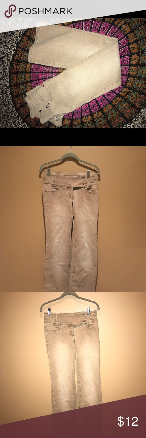Straight leg/Flair High-wasted Pants These are a khaki/Denim mix pants. They are straight leg with a slight flair at the end. Good for business casual looks! Size 5! Comment below any questions! Hot Kiss Pants Boot Cut & Flare