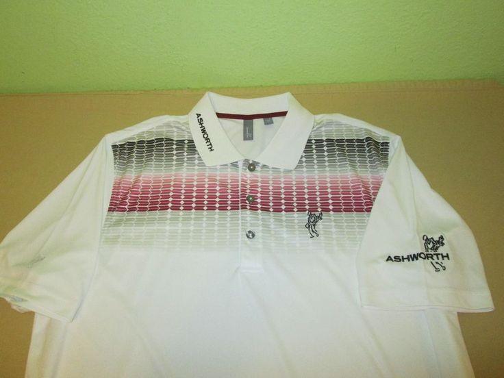 TOUR ISSUE Ashworth  Golf Shirt Sz XL - Tri Logo - White W/ Burgundy Gray #Ashworth