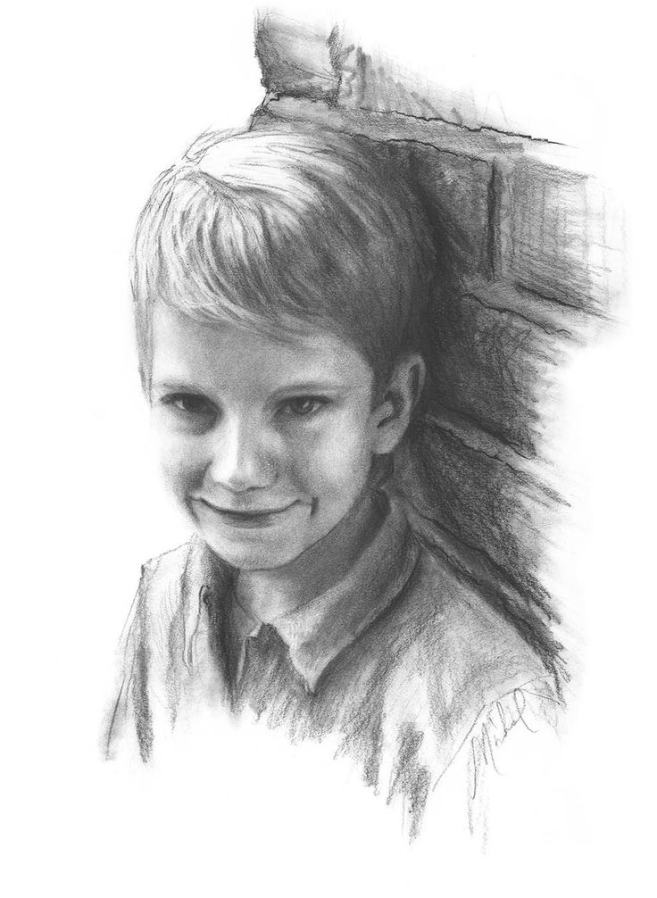 Custom conte pencil portrait drawing of boy on paper 18