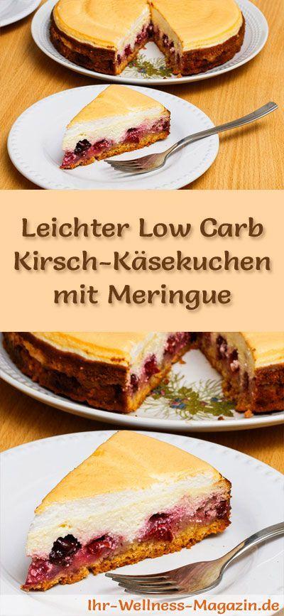 Rezept für einen saftigen Low Carb Kirsch-Käsekuchen mit Meringue: Der kohlenhydratarme Kuchen wird ohne Zucker und Getreidemehl gebacken. Er ist kalorienreduziert, ...