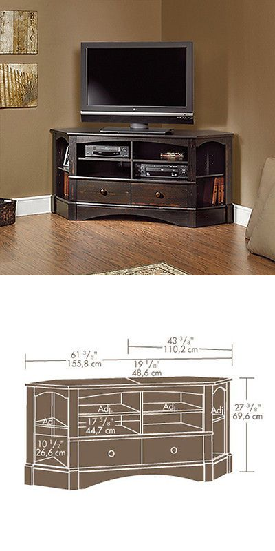 Entertainment Units TV Stands: Corner Entertainment Credenza - Antiqued Paint - Harbor View Collection (402902) BUY IT NOW ONLY: $209.0