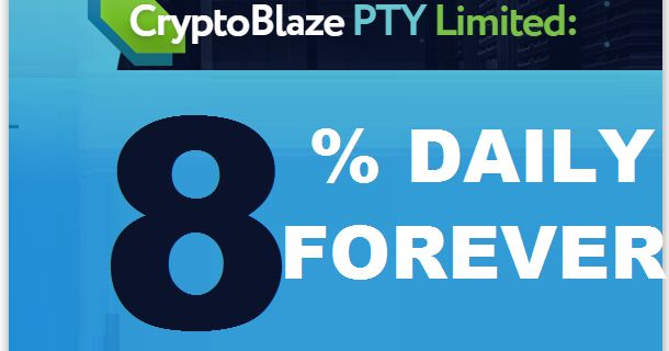 CRYPTOBLAZE investment review Bitcoin Forum HYIP Start: 26.11.17 Features: - Language: EN RU IT CN  - Accept: BitCoin [BTC]  - Payments: Instantly  - Referral plan: 6-2% - Fee for withdrawal: 0 BTC - Minimum deposit: 0.001 BTC  - Minimum withdrawal: 0.0005 BTC  - Influence of the exchange rate BTC-USD: No - Refund deposit: Included in payout BitCoin Invest plans: 8.00% Daily Forever