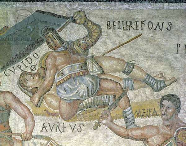 Battle between Gladiators, detail of a gladiator pinning another to the ground, 320 AD (mosaic), Roman, (3rd century AD) / Galleria Borghese, Rome, Italy / Alinari / The Bridgeman Art Library