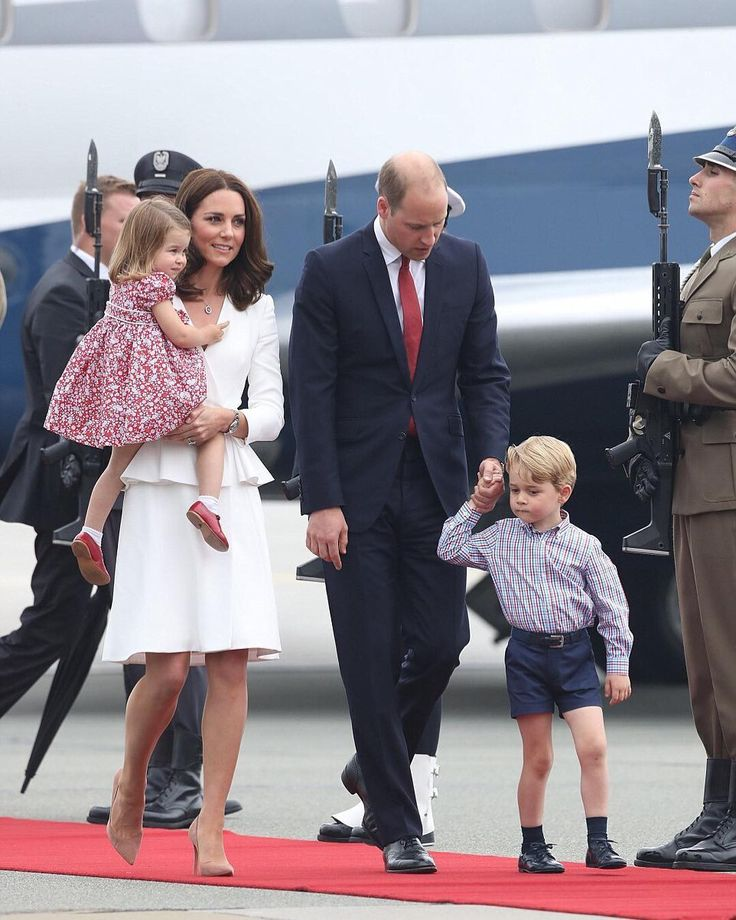 "74 Likes, 1 Comments - George and Charlotte news  (@princeandprincessofcambridge) on Instagram: ""The Cambridge family arrive in Warsaw, Poland, 17th July 2017. #duchessofcambridge…"""