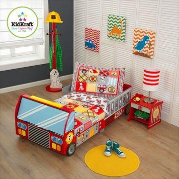 KIDKRAFT BARNESENG Pakketilbud 'Firetruck/Brannbil Toddler Bed' + Madrass + 4stk Sengetøysett. Frifrakt Kr 2999