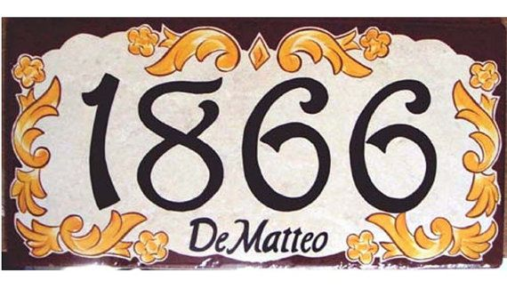 House number plaque, house numbers, address sign, italian ceramic house numbers, hand painted house plate  - brown border