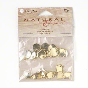Metal Charm Drops, Blue Moon Beads®, gold plated pewter, 22pcs