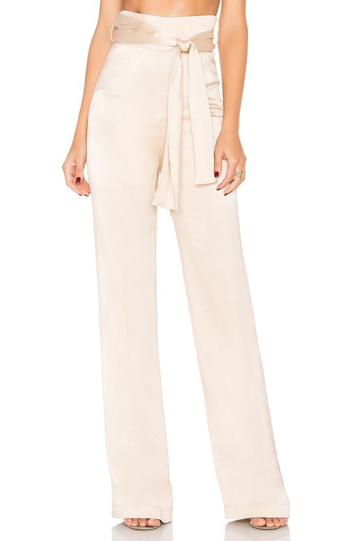 Misha Collection Flavanor Silk Pant in Champagne | REVOLVE