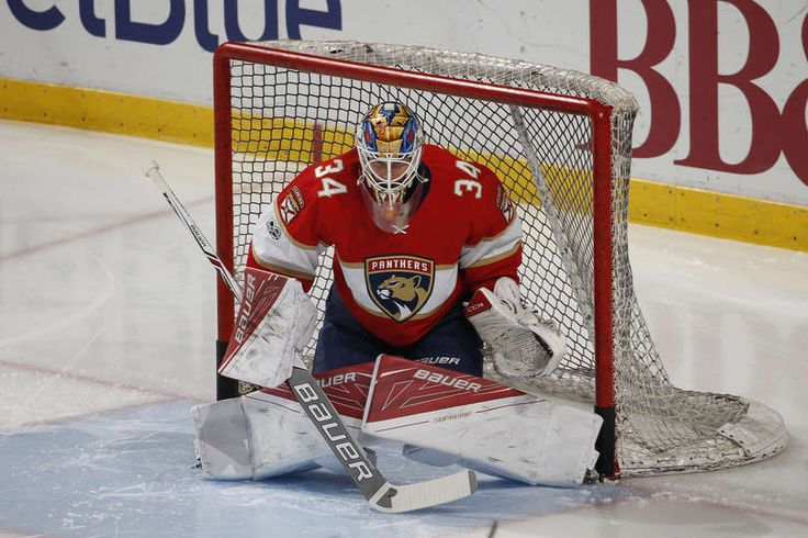 SUNRISE, FL - MARCH 14: Goaltender James Reimer #34 of the Florida Panthers warms u prior to the game against the Toronto Maple Leafs at the BB&T Center on March 14, 2017 in Sunrise, Florida. (Photo by Joel Auerbach/Getty Images)