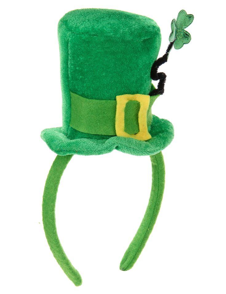 Mini sombrero con trébol San Patricio: Este mini sombrero de San Patricio mide aproximadamente 12cm y está fijo sobre una diadema.Está hecho de un material de efecto terciopelo en color verde y tiene una banda no...