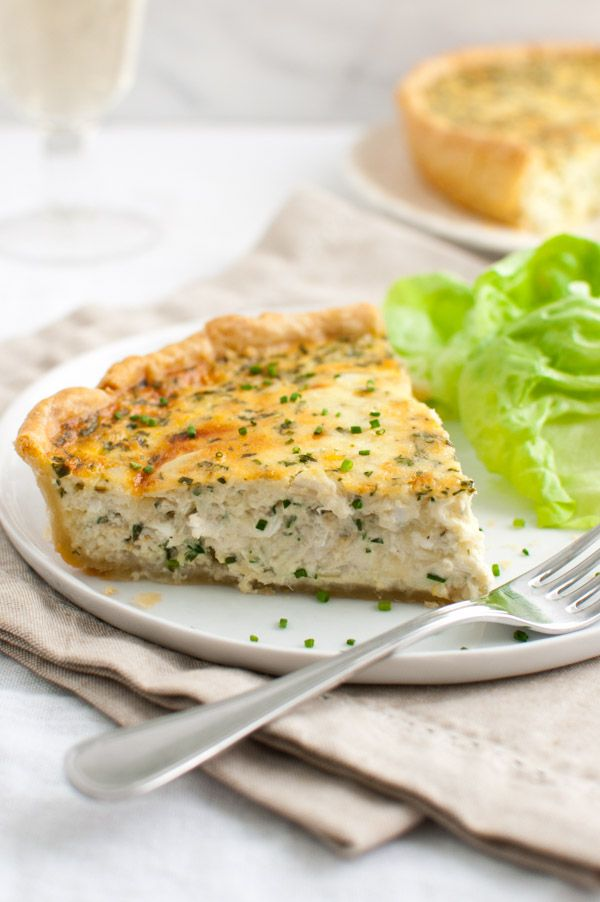 Crab Quiche - a luxurious quiche made with eggs, cream, two kinds of cheese, and lump crab meat baked in a flaky buttery crust.
