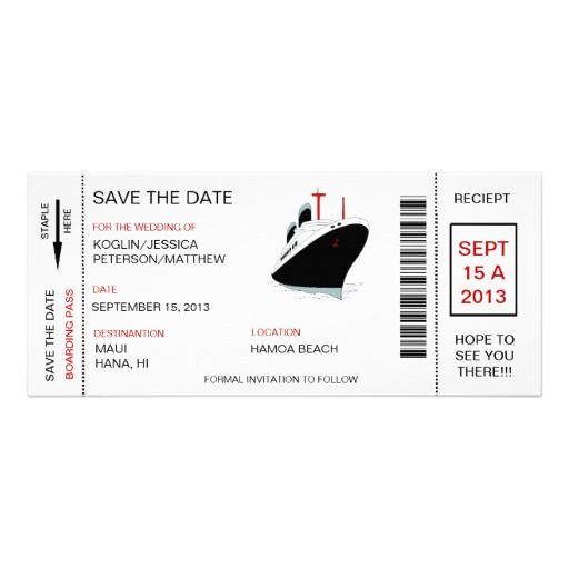Boarding Pass Save The Date Invitation Announcemen  Free Pass Template