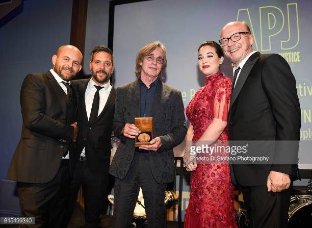 David Belle George Stroumboulopoulos Jackson Browne Audrey Raffy and Paul Haggis attend the Artists For Peace And Justice Festival Gala 2017...