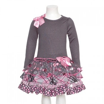 Bonnie Jean Gray Pink Christmas Dress Baby Toddler Little Girls 12M-6X