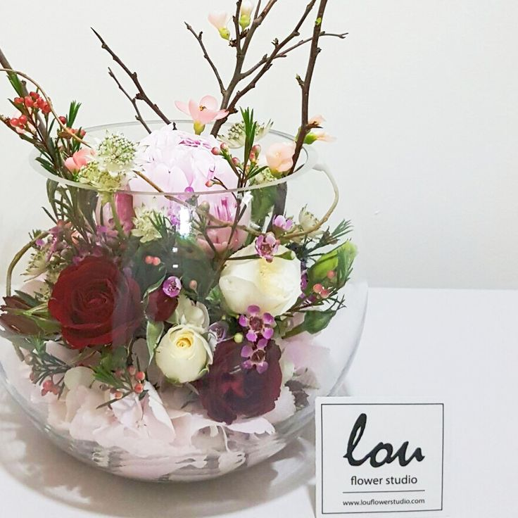 Blossoms in fishbowl