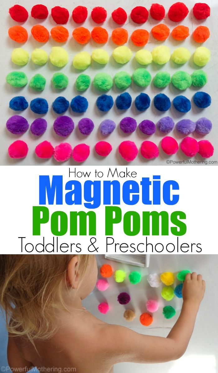 Use simple magnetic pom poms to do an activity in the kitchen on the fridge / white board with your kids. Count, color sort, pattern discover sticking.
