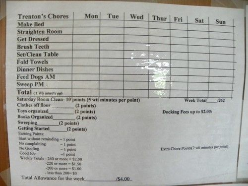 appropriate chore chart for a 10 year old boy