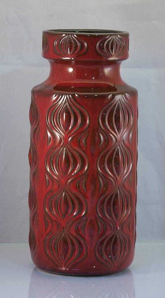 Vintage West German Scheurich Amsterdam Onion Vase red relief pattern 285-23