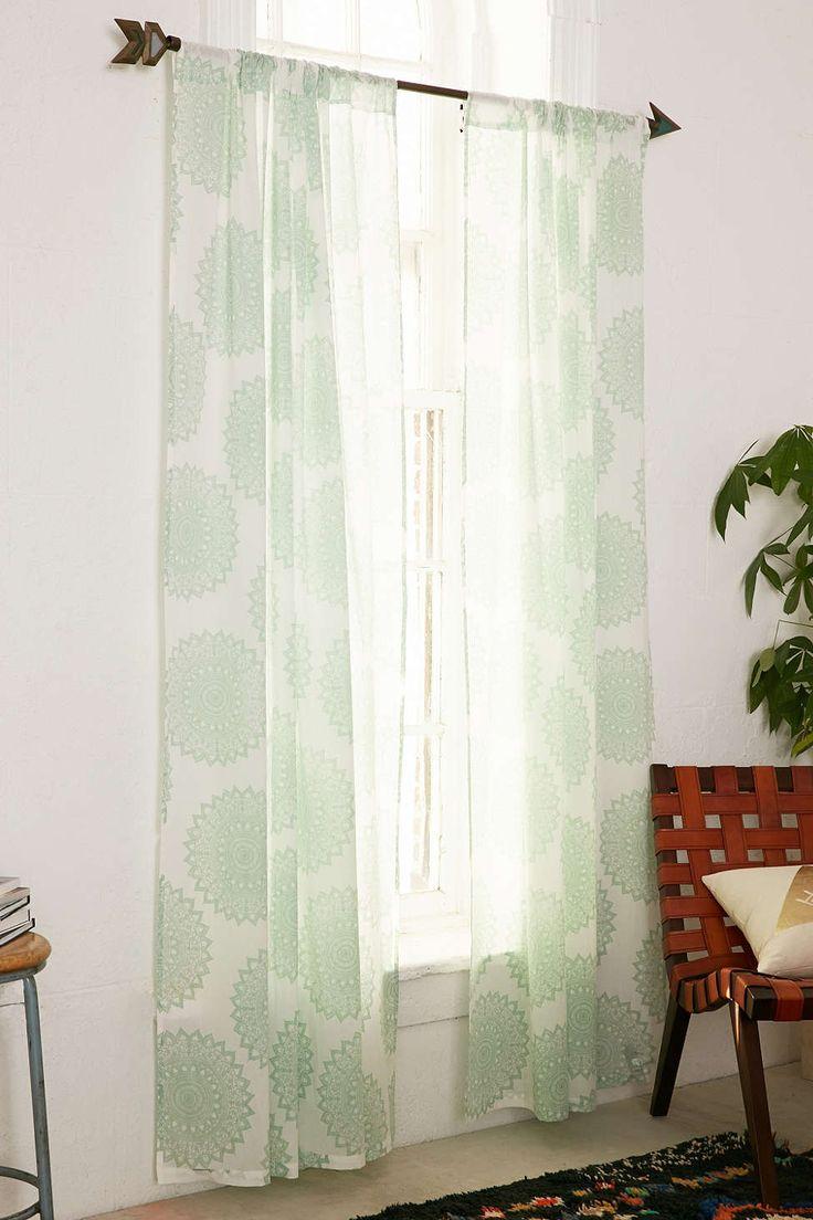 Grayson silver gray jacquard fabric cloth bathroom bath shower curtain - Magical Thinking Maya Medallion Curtain