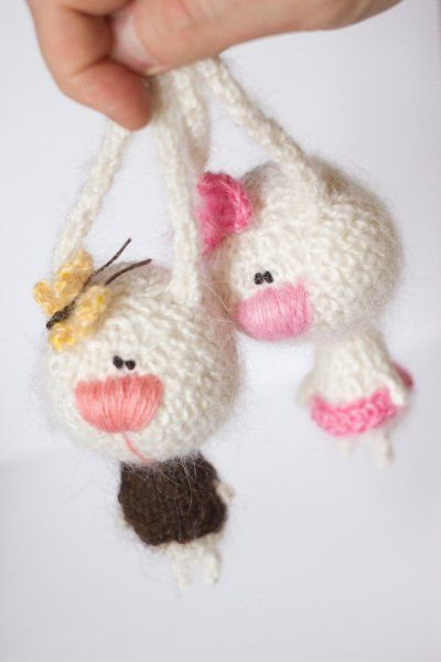 crochet bunny-twins. No pattern, but I love the yarn choice here.
