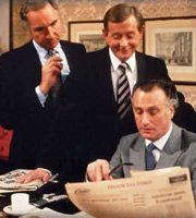 Yes Minister. Image shows from L to R: Sir Humphrey Appleby (Nigel Hawthorne), Bernard Woolley (Derek Fowlds), James Hacker (Paul Eddington). Image credit: British Broadcasting Corporation.