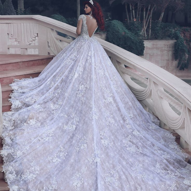 Fresh Gorgeous Cathedral Train Full Lace A Line Wedding Dresses Sheer Long Sleeves Open Back Sparkly Beading African Style Bridal Gowns Cheap