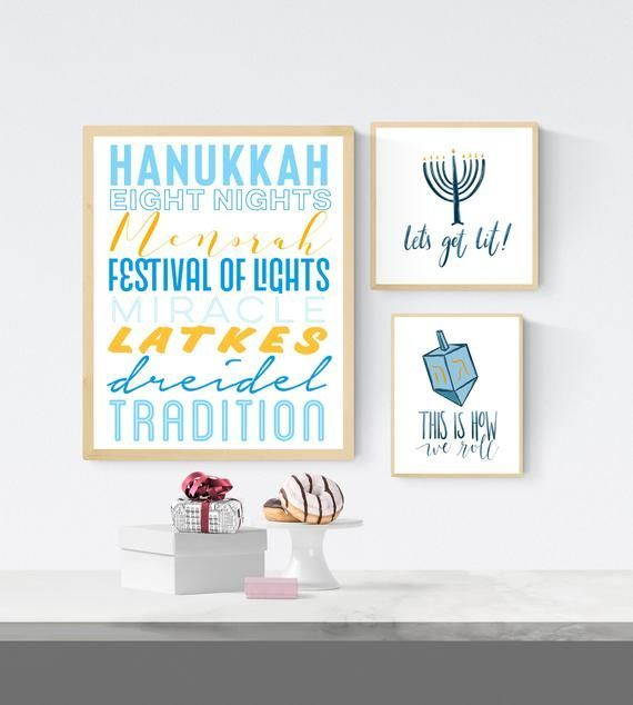 Printable Hanukkah Decorations Jewish Wall Art Set Of 3 Hanukkah Prints Hanukkah Decor Ha Hanukkah Decorations Hanukkah Chanukah Decor