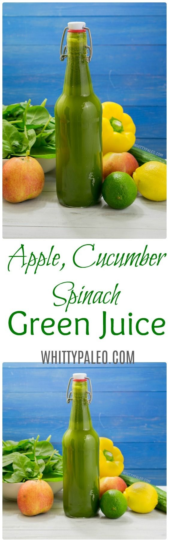 Apple Cucumber Spinach Green Detox juice for juice fast. The spin on the mean green juice with vitamins and nutrients. Find out why green juices are good for you and healthy! From WhittyPaleo.com